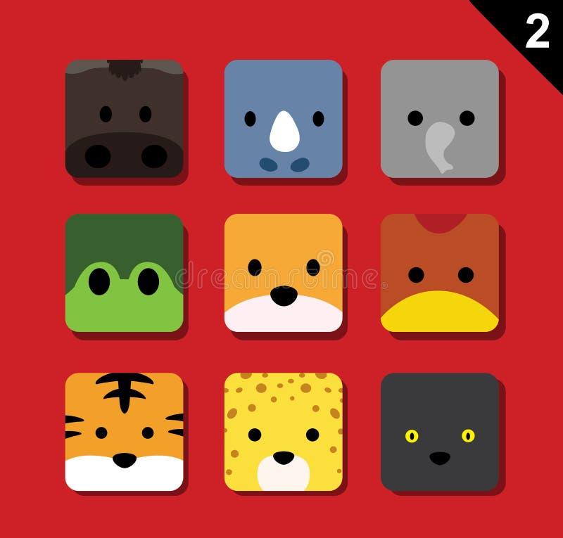 Flacher großer Tier-Gesichts-Anwendungs-Ikonen-Karikatur-Vektor stellte 2 ein (Wald) stock abbildung