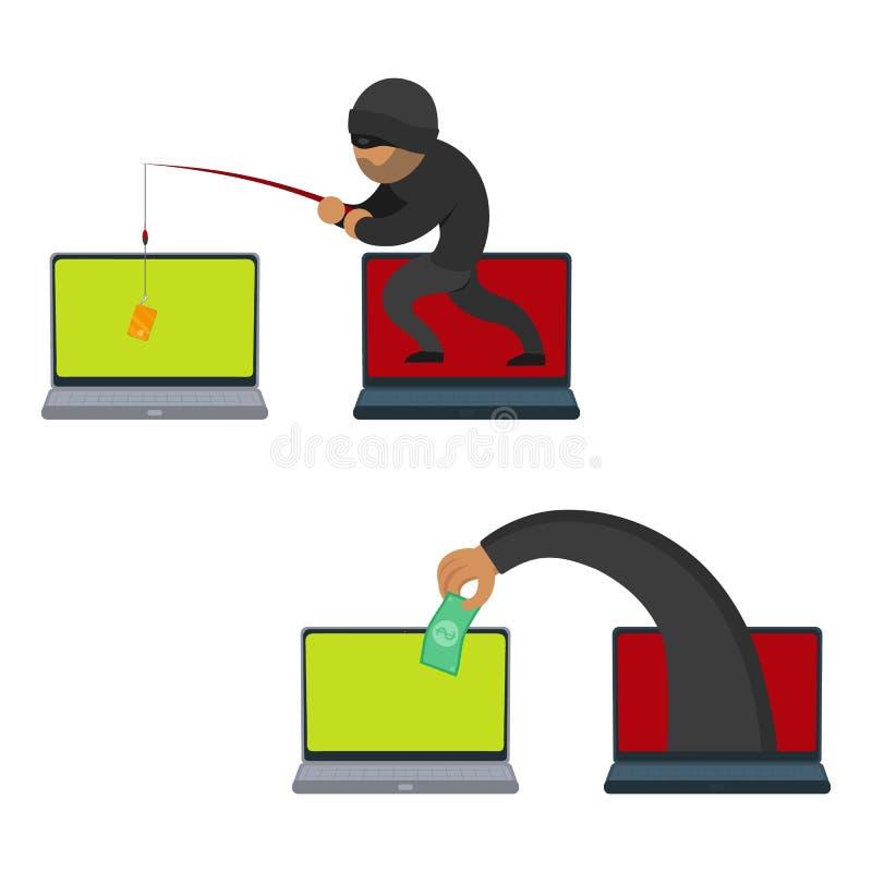 Flacher Hacker des Vektors, der Geldsatz stiehlt lizenzfreie abbildung
