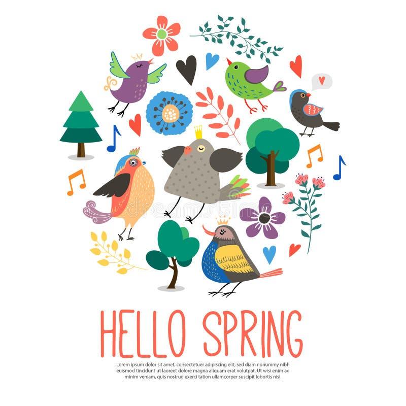 Flacher hallo-Frühlings-rundes Konzept stock abbildung