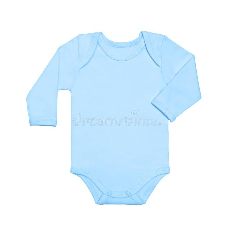 Flacher Hemdbodysuit des blauen Babys der Lage mit lang?rmligem lokalisiert auf einem wei?en Hintergrund, f?r Jungen Schein oben  lizenzfreie stockbilder