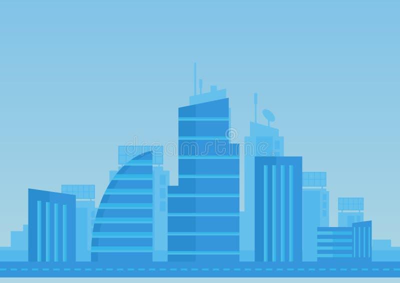 Flacher Hintergrund der Stadt in der blauen Farbe Moderne Stadtillustration stock abbildung