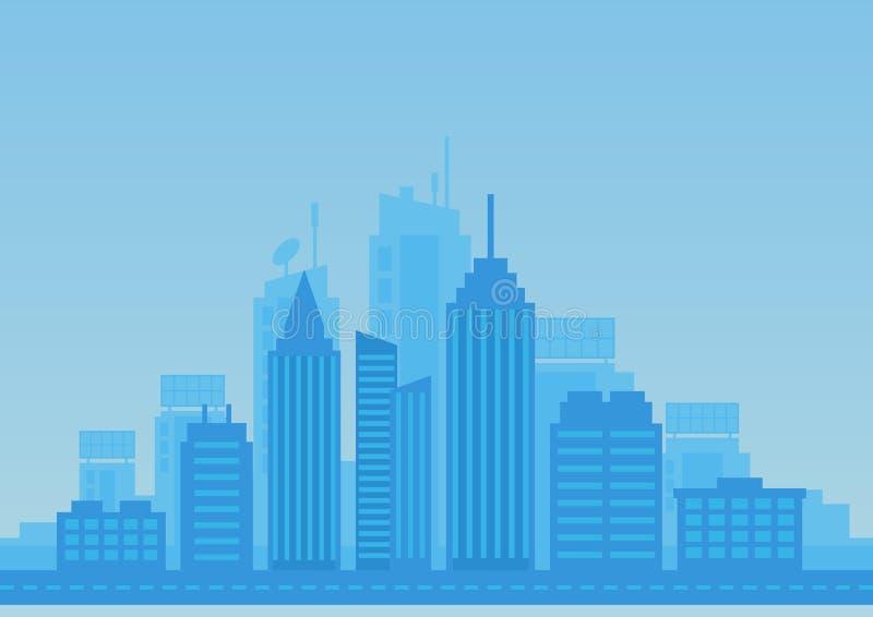 Flacher Hintergrund der Stadt in der blauen Farbe Moderne Stadtillustration vektor abbildung
