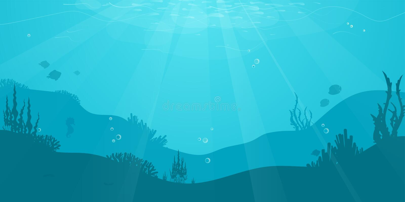 Flacher Hintergrund der Unterwasserkarikatur mit Fischschattenbild, Meerespflanze, Koralle Ozeanseeleben, nettes Design lizenzfreie abbildung