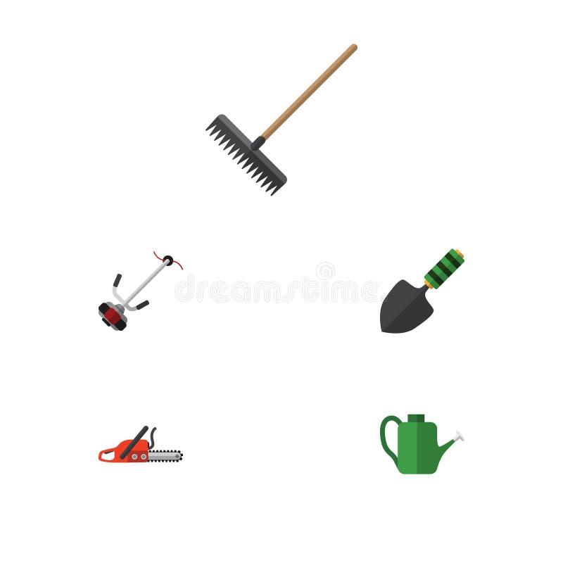 Flacher Ikonen-Bauernhof-Satz Egge, Kelle, Bürge und andere Vektor-Gegenstände Schließt auch Schaufel, kann Bürge, Metallsäge mit lizenzfreie abbildung