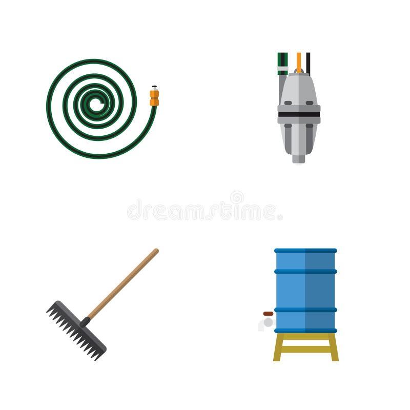 Flacher Ikonen-Bauernhof-Satz Egge, Pumpe, Schlauchleitung und andere Vektor-Gegenstände Schließt auch Schlauch, Ausrüstung, Werk lizenzfreie abbildung