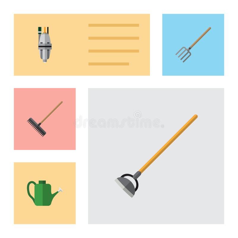 Flacher Ikonen-Bauernhof-Satz Hay Fork, Egge, Werkzeug und andere Vektor-Gegenstände Schließt auch Gabel mit ein und wässert, Gar vektor abbildung