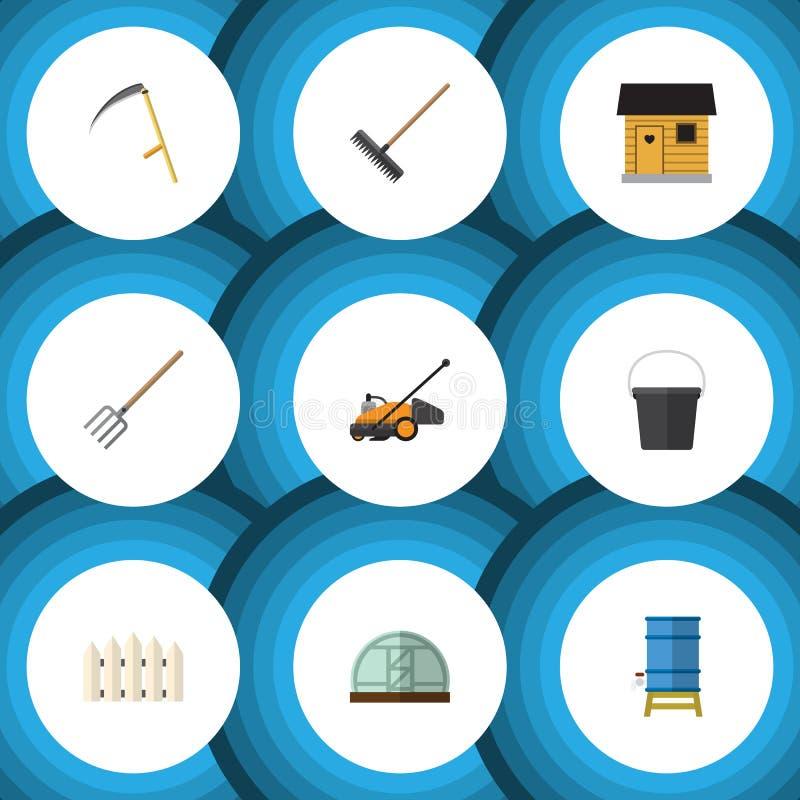 Flacher Ikonen-Datscha-Satz der Egge, Behälter, Hay Fork And Other Vector-Gegenstände Schließt auch den Zaun mit ein, hölzern, Sc lizenzfreie abbildung