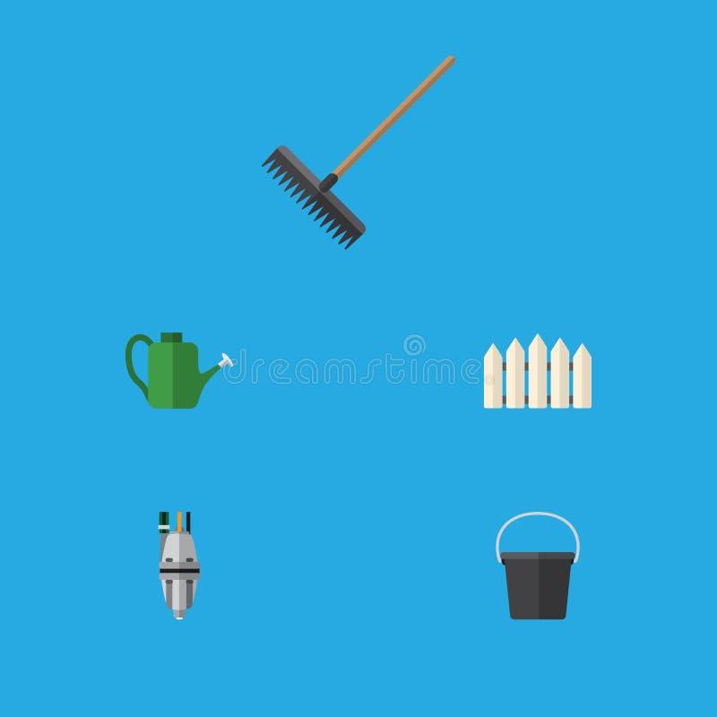 Flacher Ikonen-Datscha-Satz Eimer, Bürge, Egge und andere Vektor-Gegenstände Schließt auch die Egge mit ein und wässert, Zaun Ele vektor abbildung