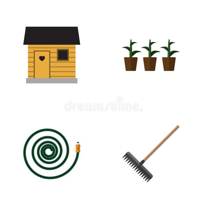 Flacher Ikonen-Datscha-Satz Einstallung, Egge, Blumentopf und andere Vektor-Gegenstände Schließt auch Schlauch, Schlauchleitung,  vektor abbildung
