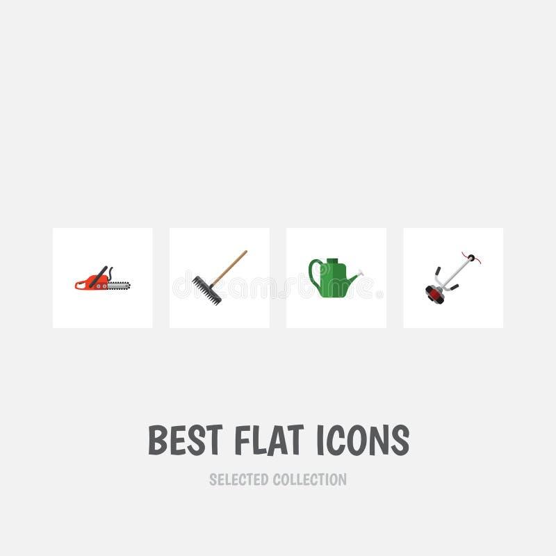 Flacher Ikonen-Datscha-Satz Metallsäge, Gras-Schneider, Egge und andere Vektor-Gegenstände Schließt auch Metallsäge, Werkzeug, Eg vektor abbildung