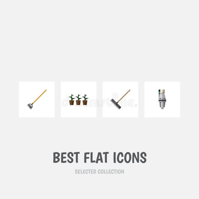 Flacher Ikonen-Datscha-Satz Werkzeug, Blumentopf, Egge und andere Vektor-Gegenstände Schließt auch Blumentopf, Egge, Pumpen-Eleme lizenzfreie abbildung
