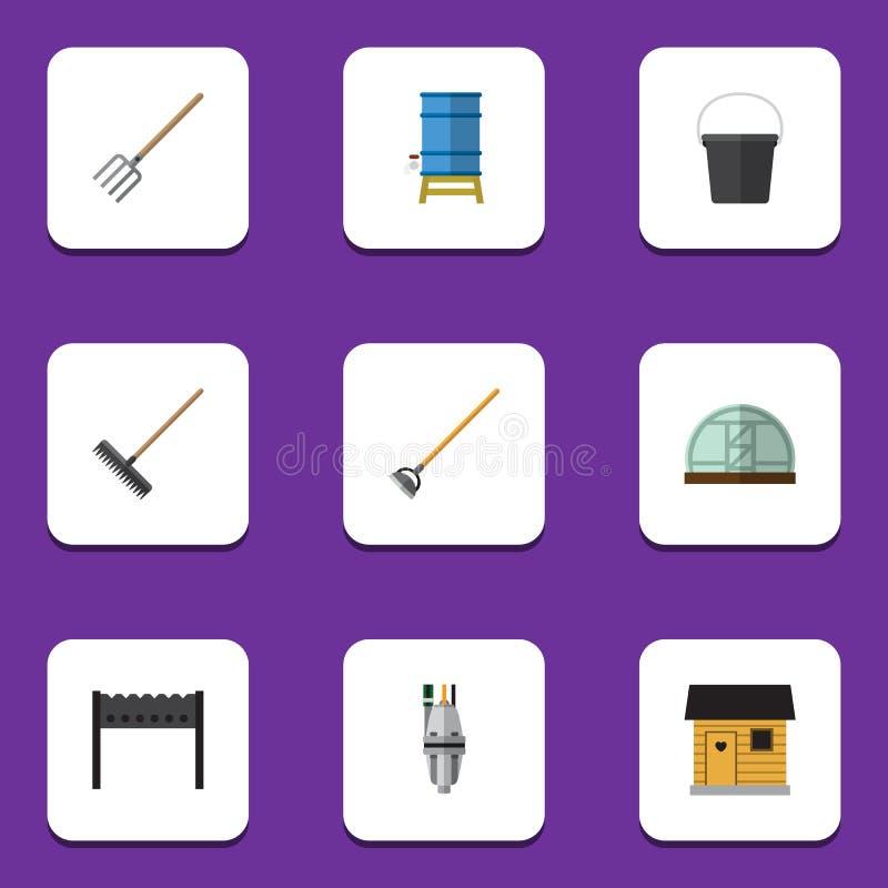 Flacher Ikonen-Datscha-Satz Werkzeug, Einstallung, Egge und andere Vektor-Gegenstände Schließt auch Scheune, Bbq, Eimer-Elemente  vektor abbildung