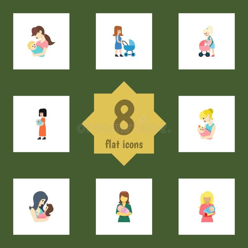 Flacher Ikonen-Elternteil-Satz Kind, Mutter, Elternteil und andere Vektor-Gegenstände Schließt auch Kind, Mam, Frauen-Elemente mi vektor abbildung