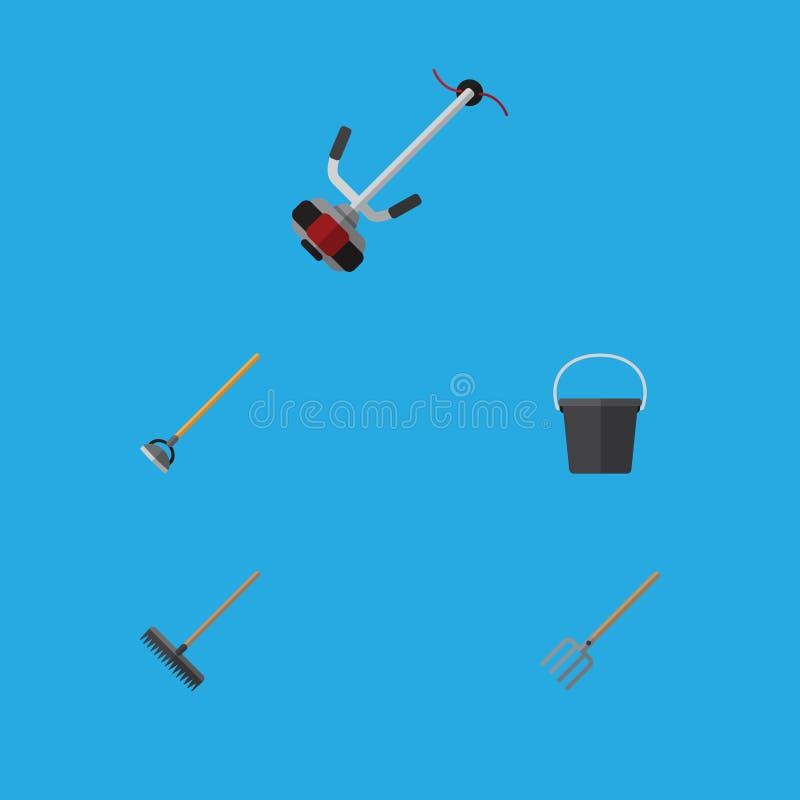 Flacher Ikonen-Garten-Satz des Eimers, Egge, Hay Fork And Other Vector-Gegenstände Schließt auch Werkzeug, Schneider, Pail Elemen stock abbildung