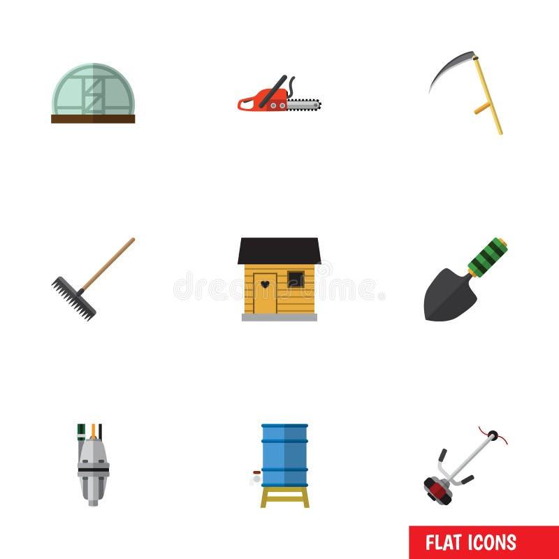 Flacher Ikonen-Garten-Satz Egge, Metallsäge, Pumpe und andere Vektor-Gegenstände Schließt auch Treibhaus, Scheune, Bauernhaus-Ele vektor abbildung