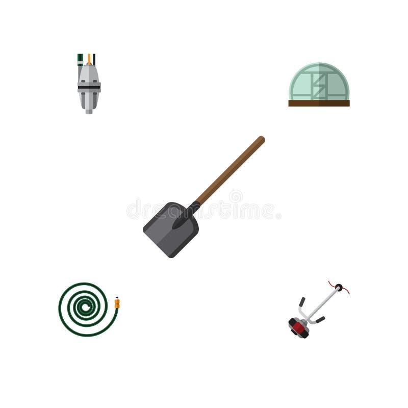 Flacher Ikonen-Garten-Satz Gras-Schneider, Pumpe, Schaufel und andere Vektor-Gegenstände Schließt auch Spaten, Schlauch, Bauernho vektor abbildung