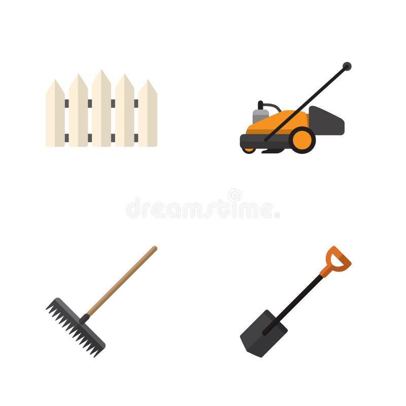 Flacher Ikonen-Garten-Satz Rasenmäher, Egge, hölzerne Sperre und andere Vektor-Gegenstände Schließt auch Schneider, Egge, Rührsta vektor abbildung