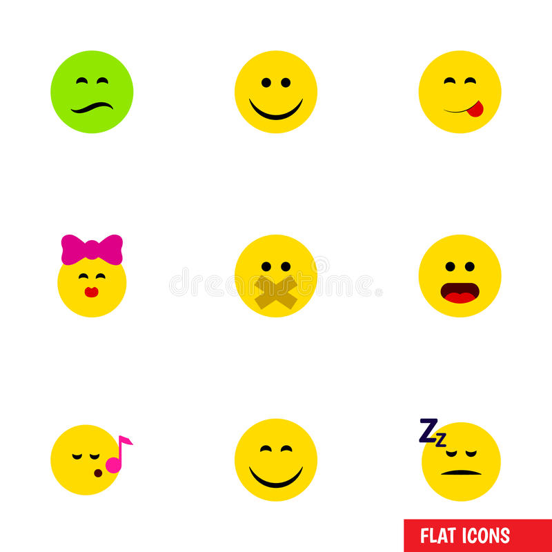 Flacher Ikonen-Gesten-Satz Wunder, schlafend, Stille und andere Vektor-Gegenstände Schließt auch verwirrtes mit ein, traurig und  lizenzfreie abbildung