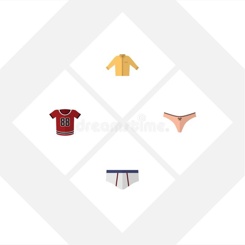 Flacher Ikonen-Kleidersatz Bantambaum, Unterwäsche, Wäsche und andere Vektor-Gegenstände Schließt auch Bluse, Schlüpfer, Unterwäs lizenzfreie abbildung
