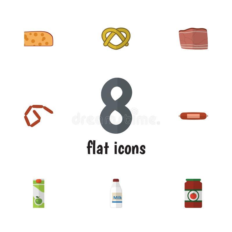 Flacher Ikonen-Lebensmittel-Satz Bratwurst, Paket-Getränk, Cheddarkäse-Scheibe und andere Vektor-Gegenstände Schließt auch Hollan lizenzfreie abbildung