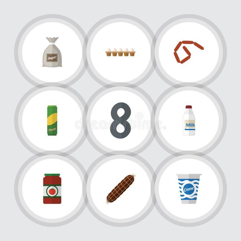 Flacher Ikonen-Mahlzeit-Satz Bratwurst, Jogurt, Spaghettis und andere Vektor-Gegenstände Schließt auch Soße, Flasche, Teigwaren-E vektor abbildung
