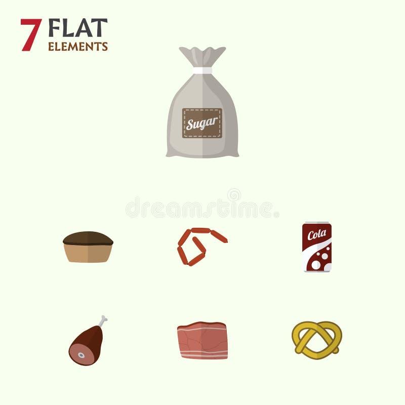 Flacher Ikonen-Mahlzeit-Satz Bratwurst, Sack, sprudelndes Getränk und andere Vektor-Gegenstände Schließt auch Kolabaum, Brezel, s vektor abbildung