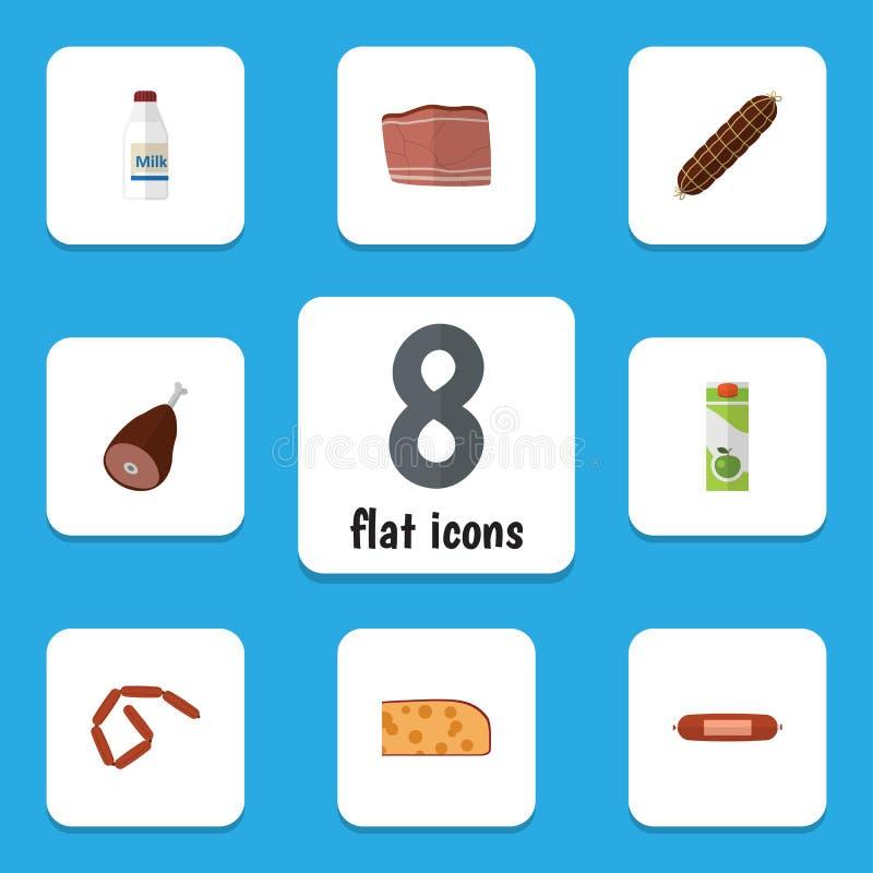 Flacher Ikonen-Mahlzeit-Satz Flasche, Bratwurst, Rindfleisch und andere Vektor-Gegenstände Schließt auch Lebensmittel, Paket, Ham vektor abbildung