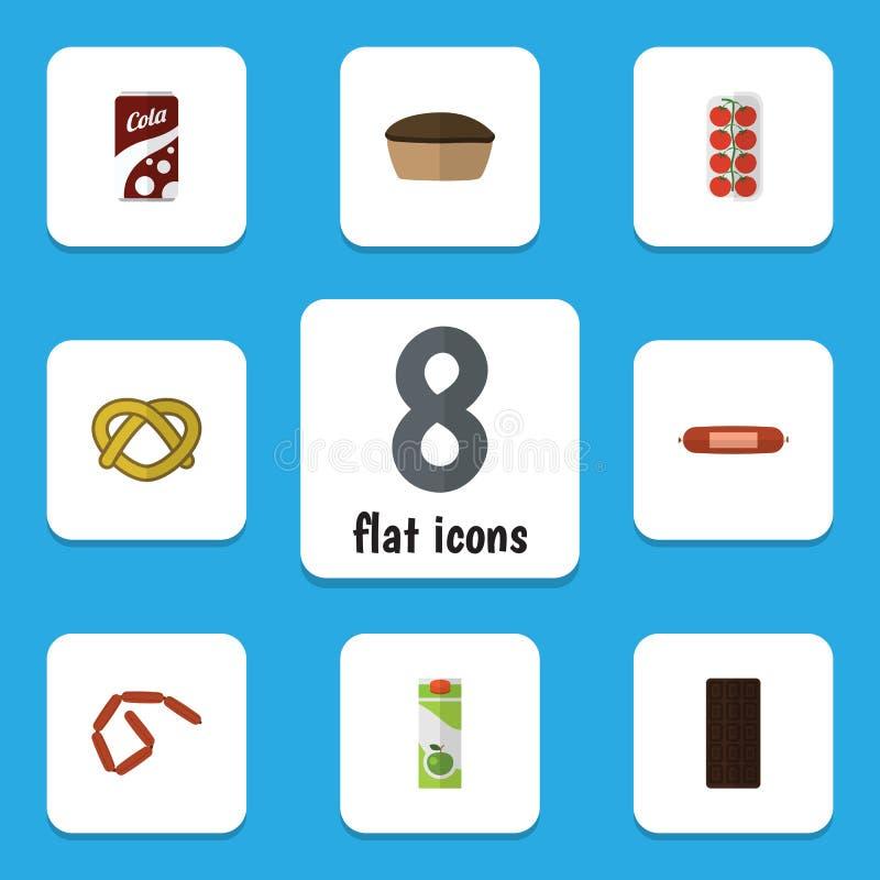 Flacher Ikonen-Mahlzeit-Satz Konfektionsartikel, Paket-Getränk, Bratwurst und andere Vektor-Gegenstände Schließt auch Kolabaum, B stock abbildung