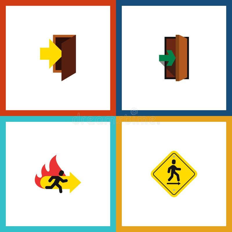 Flacher Ikonen-Notsatz Eintritt, Notausgang, Richtungs-Zeiger und andere Vektor-Gegenstände Schließt auch Zeiger, Tür mit ein lizenzfreie abbildung