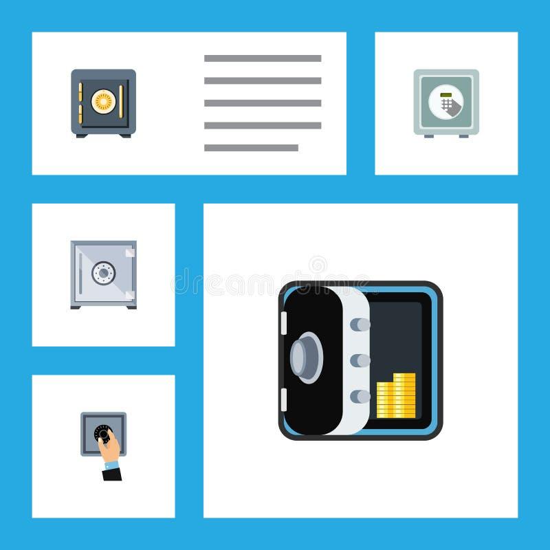Flacher Ikonen-Safe-Satz Einsparung, Safe, Bankwesen und andere Vektor-Gegenstände Schließt auch Schutz, zugeschlossene, geschlos lizenzfreie abbildung