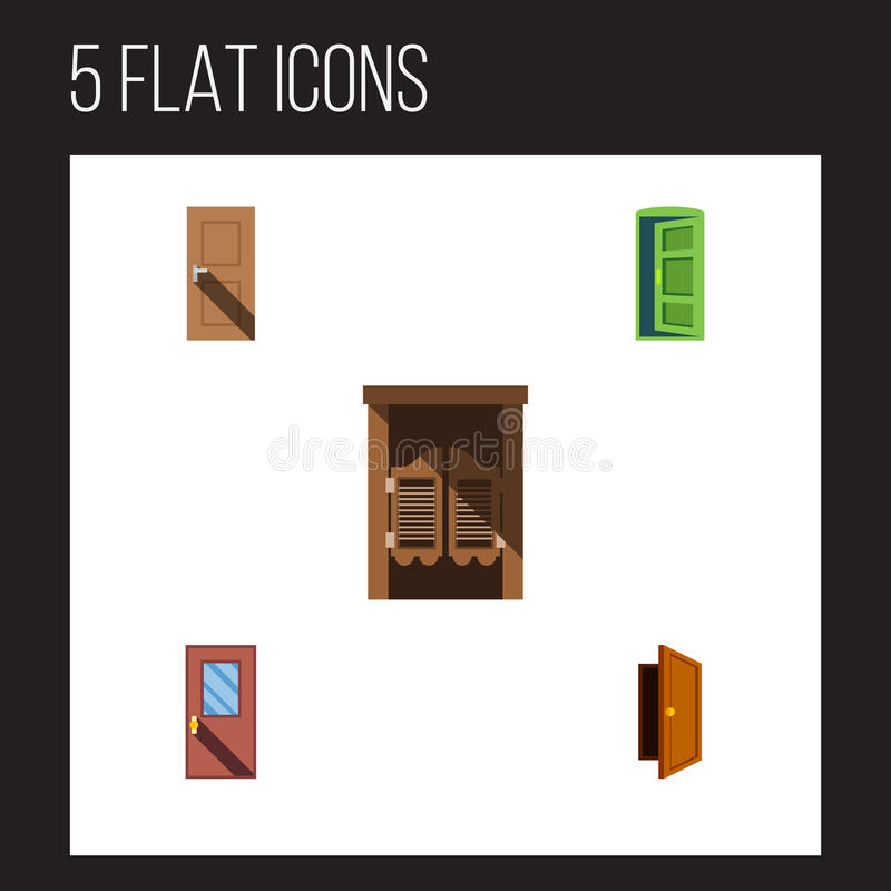 Flacher Ikonen-Tür-Satz Rahmen, Eintritt, Tür Und Andere Vektor ...