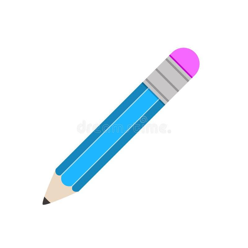 Flacher Ikonenbleistift des Bleistifts lokalisierte Ikone schreiben vektor abbildung