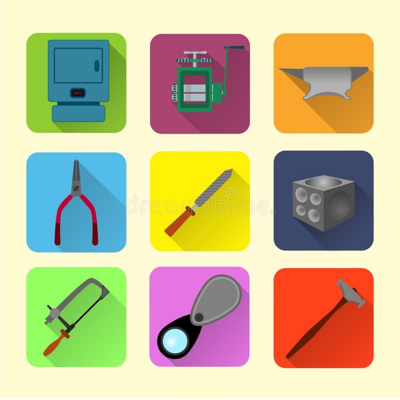 Flacher Ikonensatz der Juwelierwerkzeuge vektor abbildung