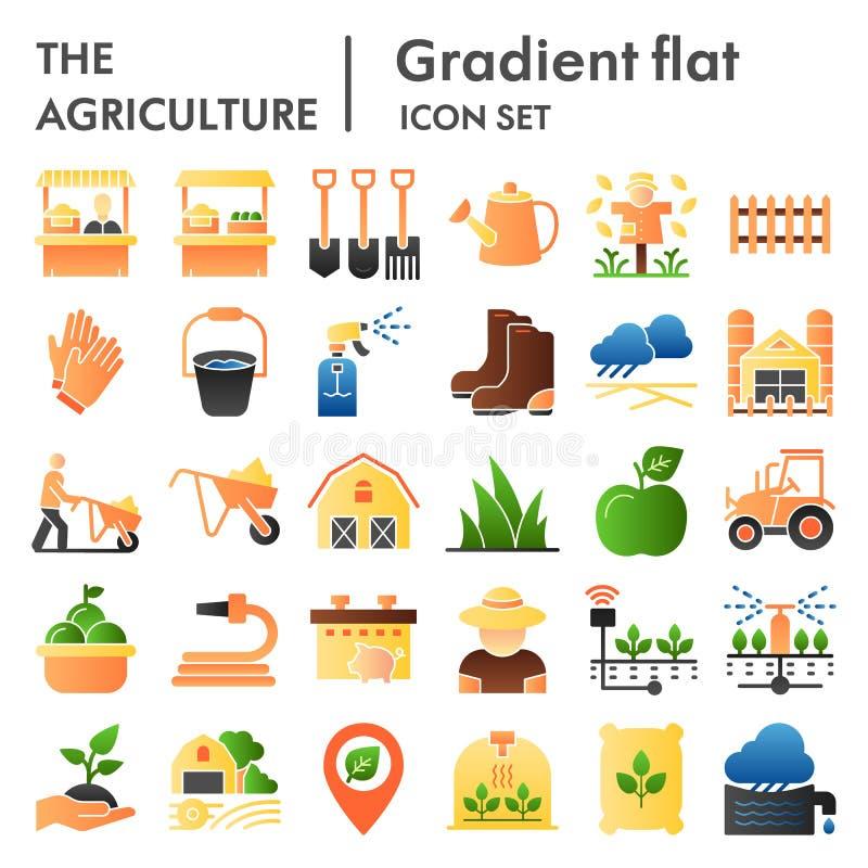 Flacher Ikonensatz der Landwirtschaft, Symbole Sammlung bewirtschaftend, Vektorskizzen, Logoillustrationen, Gartenarbeitzeichenfa vektor abbildung
