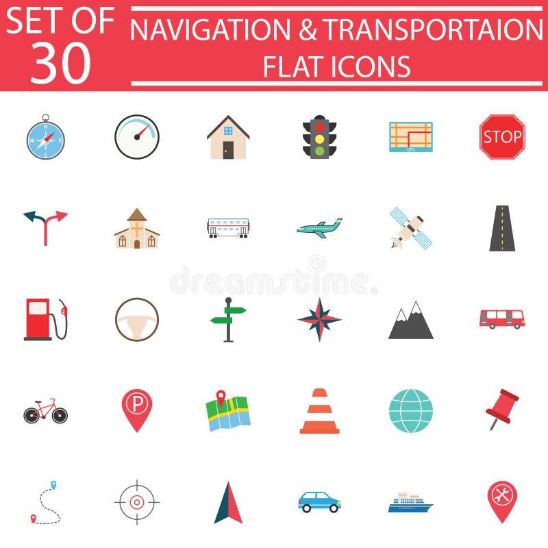 Flacher Ikonensatz der Navigation, Transportzeichen vektor abbildung
