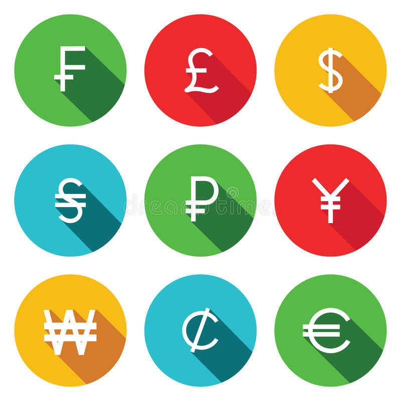 Flacher Ikonensatz der Währung lizenzfreie abbildung