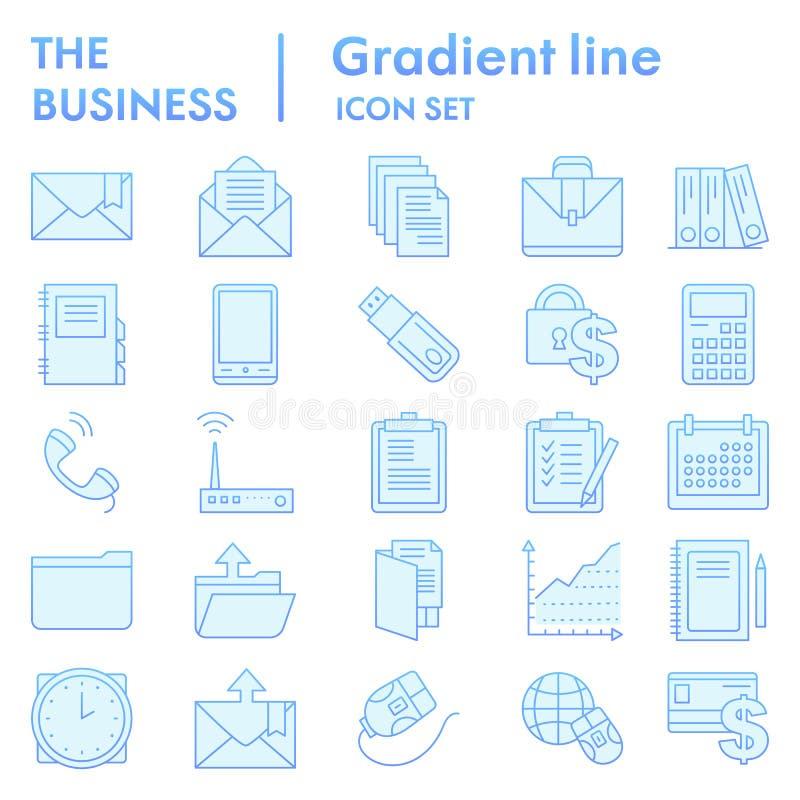 Flacher Ikonensatz des Geschäfts, vermarktende Symbole Sammlung, Vektorskizzen, Logoillustrationen, Managementzeichenblau vektor abbildung