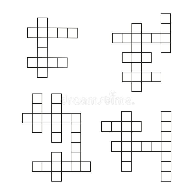 Flacher Ikonensatz des Kreuzworträtsels Vektorkreuzworträtselschablone lizenzfreie abbildung