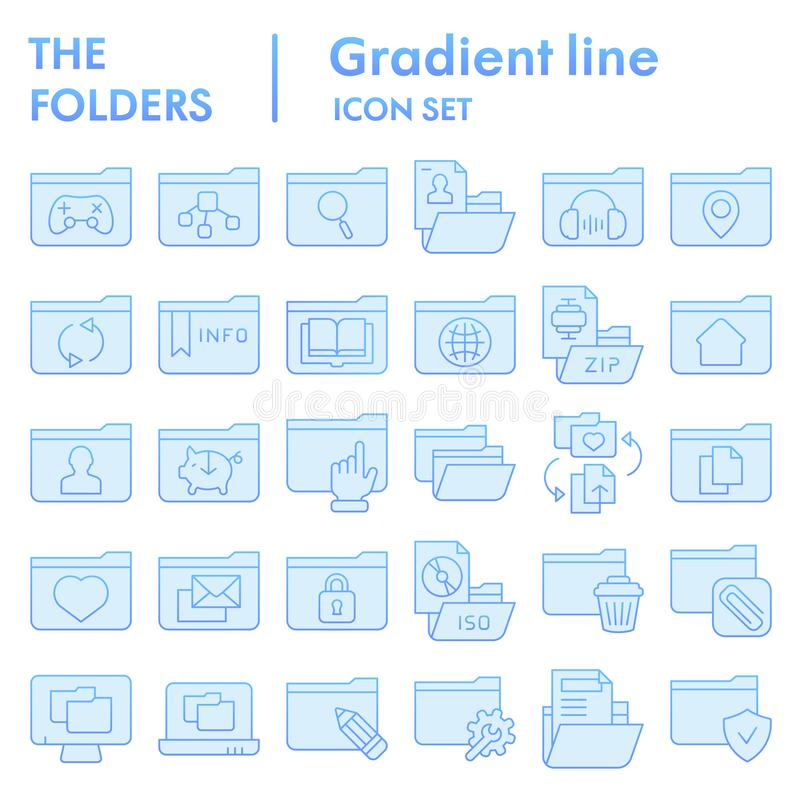 Flacher Ikonensatz des Ordners, Computerordnersymbole Sammlung, Vektorskizzen, Logoillustrationen, Dateizeichen blau lizenzfreie abbildung