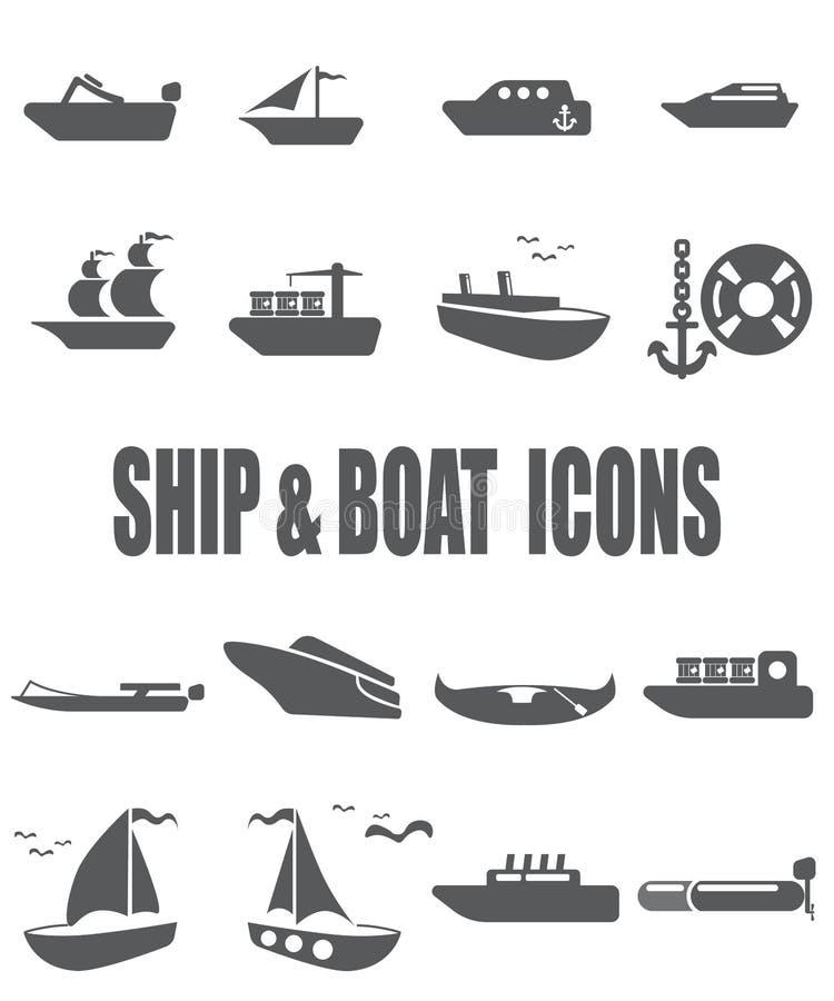 Flacher Ikonensatz des Schiffs und des Bootes vektor abbildung