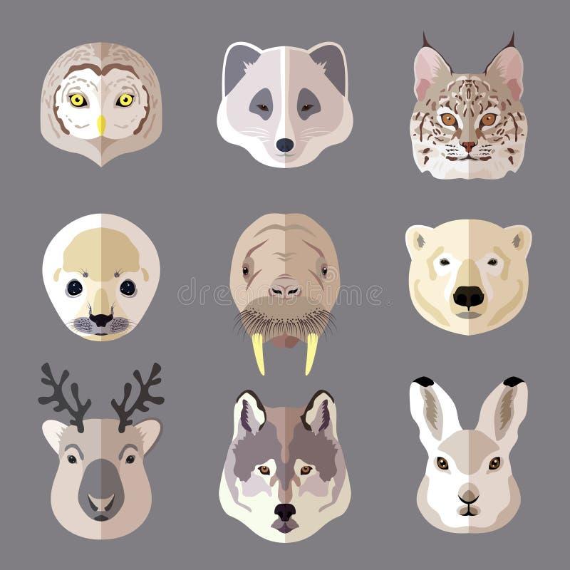 Flacher Ikonensatz des Tierporträts stock abbildung