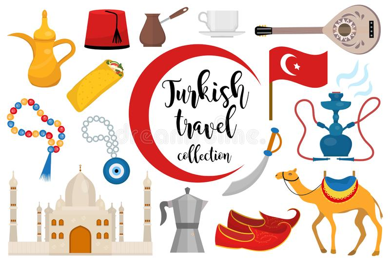 Flacher Ikonensatz die Türkei-Reise, Karikaturart Türkische Sammlung Gestaltungselemente mit Kamel, Buzuk, Moschee, Huka stock abbildung