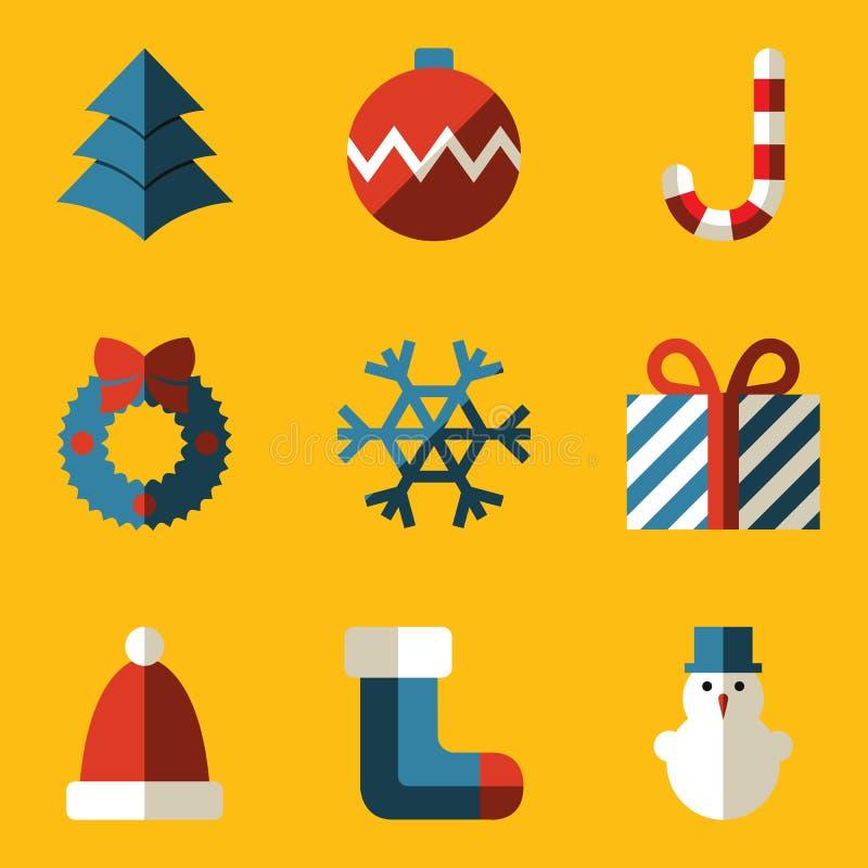 Flacher Ikonensatz. Frohe Weihnachten stock abbildung