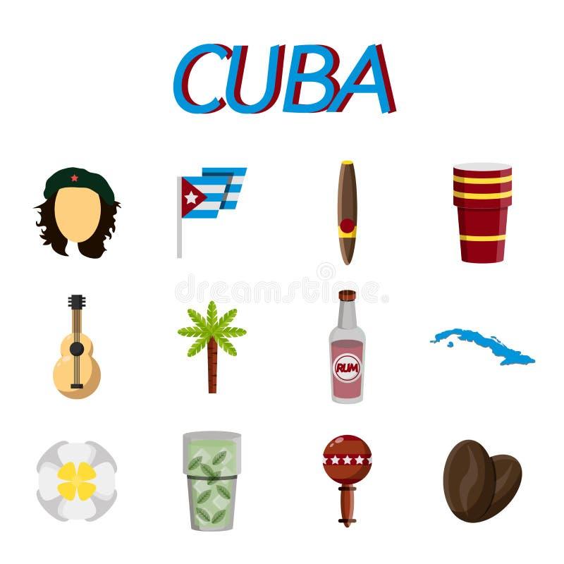 Flacher Ikonensatz Kubas vektor abbildung