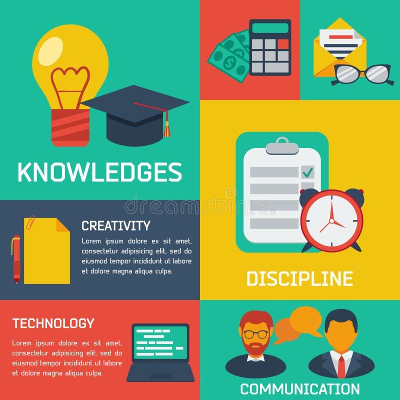 Flacher infographic Bildungshintergrund lizenzfreie abbildung