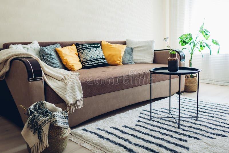 Flacher Innenraum des Wohnzimmers verziert mit Körben, Anlagen und Teppich Couch mit Kissen und Tabelle stockfotografie
