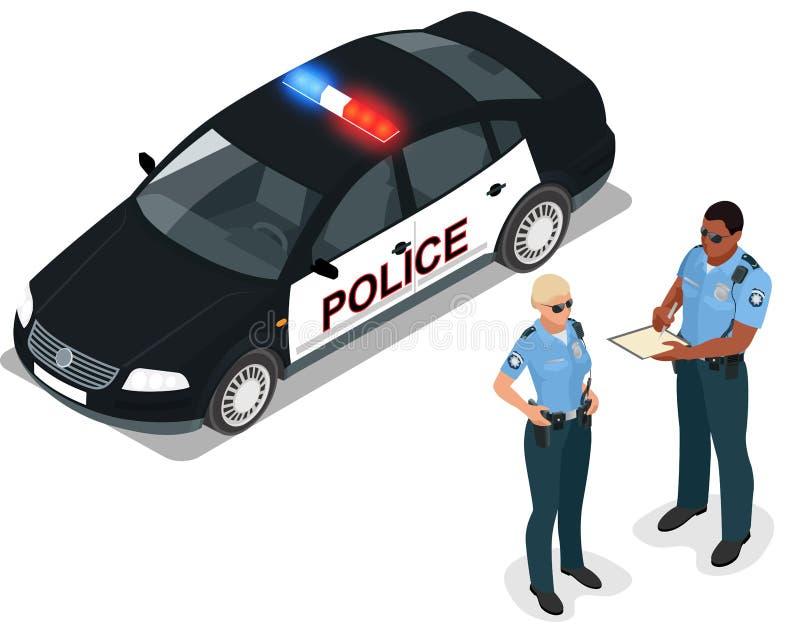 Flacher isometrischer Polizeiwagen und Polizist der Illustration 3d isometrischer Polizeiwagen und Polizist 3D isometrisch lizenzfreie abbildung