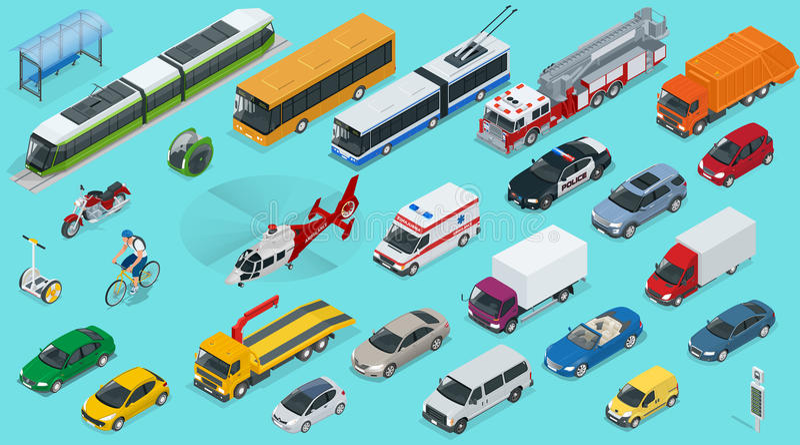 Flacher isometrischer Transport-Ikonensatz der Stadt 3d lizenzfreie abbildung