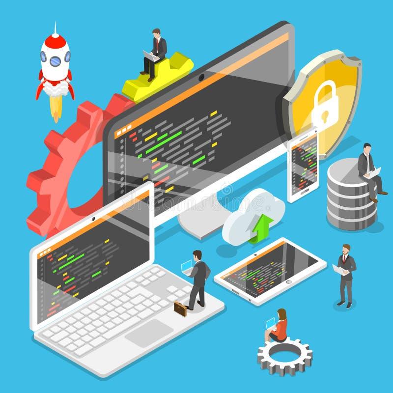 Flacher isometrischer Vektor der Softwareentwicklung stock abbildung