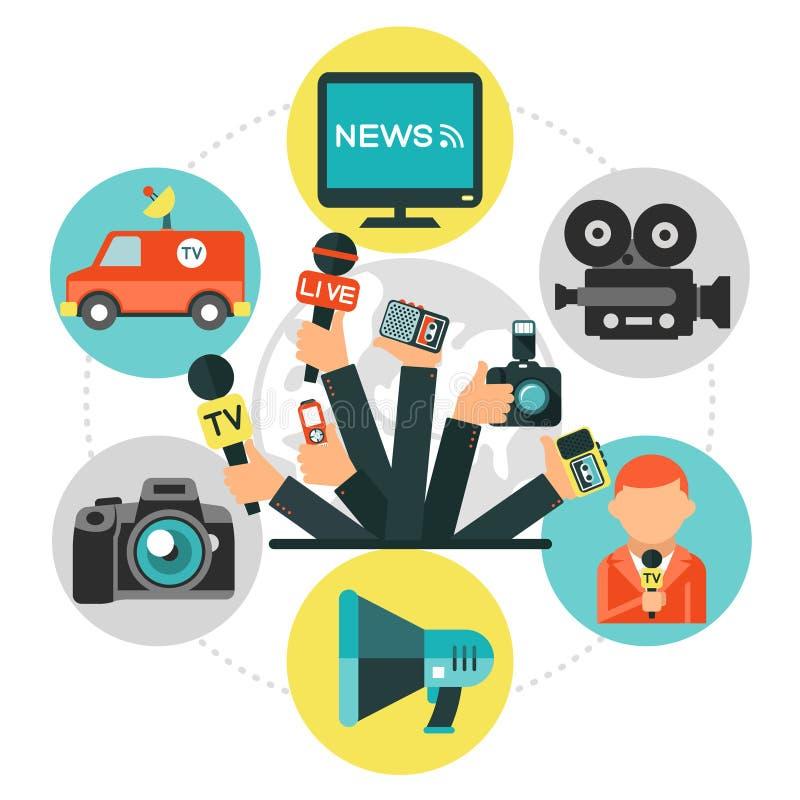 Flacher Journalismus-rundes Konzept stock abbildung